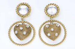 Vintage 1980's French Gold Plated Poured Glass Crystal Heart Long Hoop Earrings