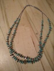 Turquoise And Shell Native American Beaded Necklace Double Strand Vintage