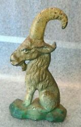 Old Painted Cast Iron Mountain Goat Bottle Opener