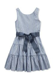 Polo Ralph Lauren Little Girls Striped Cotton Dobby Dress