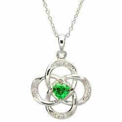 Sterling Silver Necklace May Birthstone Emerald Cubic Zirconia 18 x 20mm