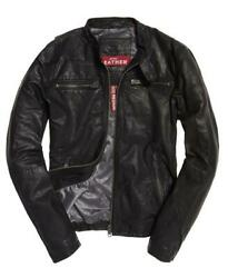 New Superdry Real Hero Biker Leather Jacket Size L 40 102cm Rrp Andpound199.99