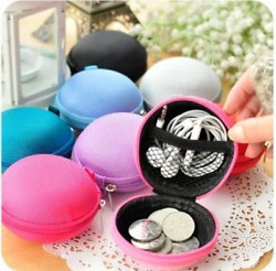 Round Key Coin Headset Headphone Earbud Wallet Zip Small Portable
