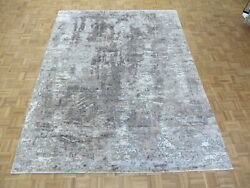 8 X 10and0393 Hand Knotted Gray Modern Abstract Oriental Rug With Silk G8399