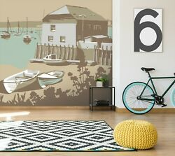 3d Rock Boat O243 Wallpaper Wall Mural Removable Self-adhesive Steve Read Amy