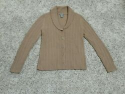 Women's Button Down Cardigan Cable Knit Cowl Neck Sweater Camel Ann Taylor XS