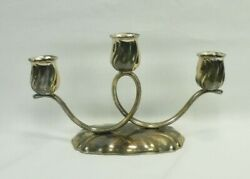 Nagel Silver Plated Candle Holder 3 Arm Style Candlebra 5.5 Tall X 9.25 Wide