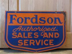 Vintage Porcelain Double Sided Fordson Dealer Sign Antique Tractor Farm 8382