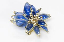 Christian Dior Late 1940andrsquos By Maison Gripoix Blue Glass Flower Brooch