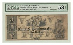 La105g10 1840s 5 Canal Bank Of New Orleans Obsolete Note Remainder Pmg 58 Epq
