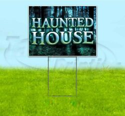 Haunted House 18x24 Yard Sign With Stake Corrugated Bandit Business Halloween