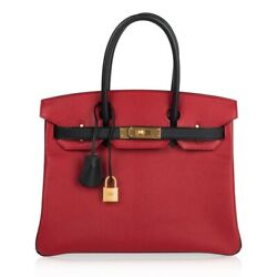 Hermes Birkin 30 Bag HSS Rouge Casaque and Black Chevre Gold Hardware