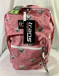JanSport SuperMax Backpack FRENCH BULLDOG Pink Trans Dog Laptop Frenchie 17quot; NEW $19.91