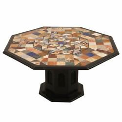 42 Marble Dining Center Table Top Semi Precious Stones Inlay With Marble Stand