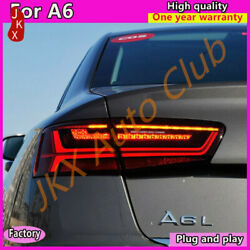 12-18 For Audi A6 Led Taillights Assembly Upgrading New Style Red Rear Lamps