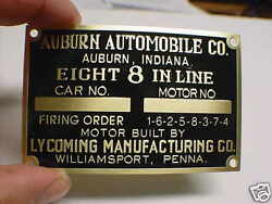 Auburn 8 Automobile Lycoming Data Plate Acid Etched Brass
