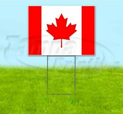 Canadian Flag 18x24 Yard Sign With Stake Corrugated Bandit Usa Business Canada