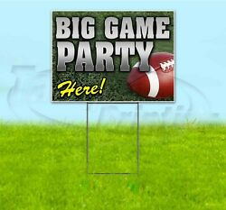 Big Game Party Here 18x24 Yard Sign With Stake Corrugated Bandit Usa Football