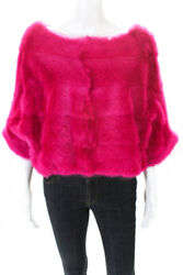 Designer Womens Neon Mink Fur Boat Neck Cropped Drawstring Jacket Pink One Size