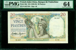 French Indo-china 1936-39 20 Piastres Pick 56b Sign 9 Pmg 64. Top Pop
