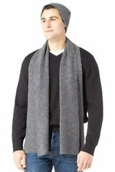 Fishers Finery Men'S 100% Cashmere Ribbed Knit Hat And Scarf Set; Gift Box