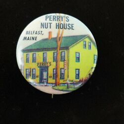 Vintage Perry's Nut House Pin Back Button 1.25 Inch Belfast Maine Souvenir Rare