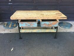 Vintage Cast Iron Swing Out Seat Table/workbench/kitchen Island