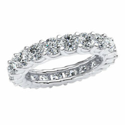 Natural 4.00 Ct Woven Prong Set Eternity Band Ring Round Diamond Solid 10k Gold