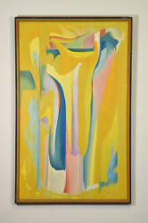 Morton Traylor 1959 Painting Yellow Space California Artist Mid Century Abstract