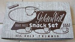 Vintage Fire King White Snack Set With Box - 4 Plates And Cups With Gold Trim