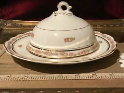 Antique Vintage Homer Laughlin Pink Floral Covered Cheese/butter Dish
