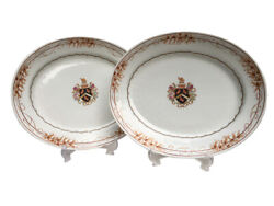 Magnificent Antique Sansom Armorial Coat Of Arms - Pair Of Oval Plates