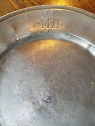 Antique Pewter Dinner Plate. 1743 With Crown And Initials.
