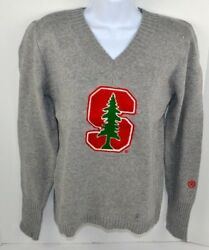 NCAA Stanford Cardinal Women's Chenille Letter V-Neck Sweater Gray XL