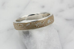 Ladiesand039 Mokume Wedding Band With Sterling Silver Liner By Krikawa Size 5.0