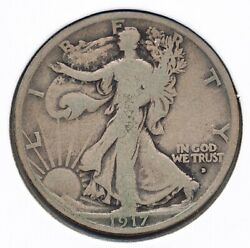 1917-d Obv Obverse Walking Liberty 90 Silver Half Dollar 50c Standing Us Coin