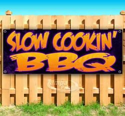 Slow Cookinand039 Bbq Advertising Vinyl Banner Flag Sign Many Sizes Usa Barbecue