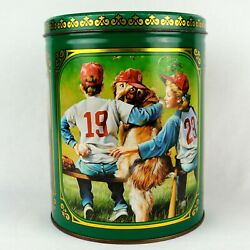 Purina Dog Biscuits Vintage Collectible Advertising Tin Can - 3 Dog Scenes 1989