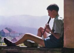 1962 Vintage Boy Playing Flute Music French Village Photo Litho By Robert Manson