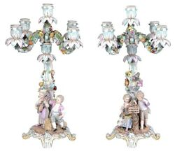 A good quality pair of 19th century Meissen Porcelain five branch Candelabra