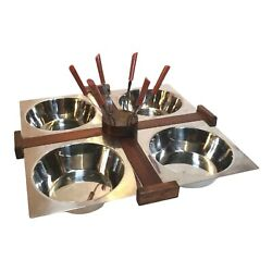 Gail Craft Japan Mcm Danish Stainless Steel Wood Condiment Caddy W/ Forks