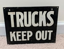 Authentic Used Vintage Trucks Keep Out Tin Metal Sign 1960s Old Cool Patina