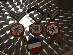 Vintage Military 8 Patches 3 Pins Mixed Lot War Officer Ww Ii Star Lightening