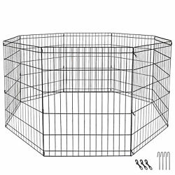 24 Dog Playpen Crate 8 Panel Fence Pet Play Pen Exercise Puppy Kennel Cage Yard