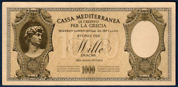 Greece Greek 1000 Drachmai Cassa Mediterranea Km 6 1941 Very Nice Note Rare