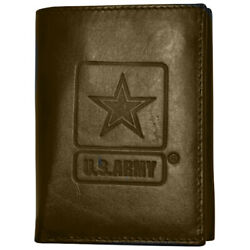 Men's Brown Leather US Army Trifold Wallet RFID Protected Gift Boxed
