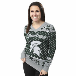 Forever Collectibles Ncaa Womens Michigan State Spartans Big Logo V-neck Sweater