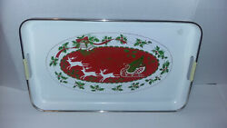 Vintage Lacquer Ware Christmas Holiday Serving Tray Japan 15 X 12 Gold Trim