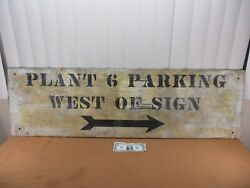 Vintage Hand-painted Wooden Industrial Power Plant Factory Parking Sign 48 X 14