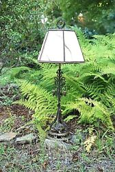 Vintage Hand Crafted Arts And Craft Mission Era Table Lamp Hand Wrought Steel 31